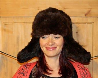 Fur hat Real fur hat with ear flaps Rabbit fur hat Unisex fur hat Warm winter hat Soviet vintage Trapper hat Russian Ushanka Black fur hat