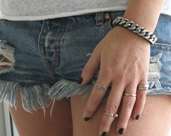 womens silver chain bracelet, rock style chain, curb chain bracelet, silver and leather bracelet, silver link bracelet, Oxidized Silver link