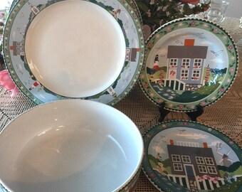Sakura \ Nantucket\  Round Bowl 2 Dinner Plates 2 Salad Plates & Sakura plates   Etsy