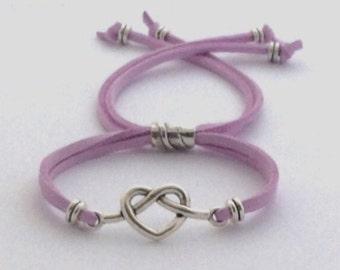 Heart Bracelet, Bridesmaid Gift, Women's Valentines Jewelry Gift, Girls Popular Silver Heart Bracelet, Trendy Slide on Corded Bracelets