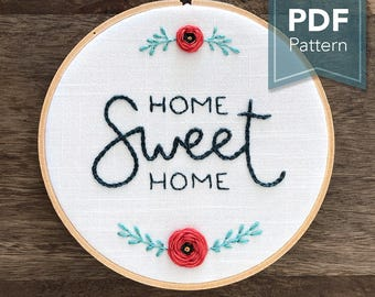 Home Sweet Home - Modern Embroidery Pattern (PDF Digital Download)
