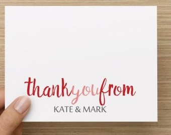 Bridal Shower Thank You Card.  Modern and fun.  Personalized.  Multiple pack sizes available!