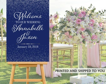 Welcome to Our Wedding Sign - Navy Blue and Silver Sparkle Bride & Groom Sign- Reception Sign Printed Wedding Ceremony Sign, Personalized