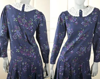 1980s Vintage Laura Ashley Floral Dress, Dark Blue w Lilac Purple Green Flowers and White Lace Collar: Size 6 US, Size 10 UK