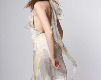 Silk Scarf Wrap Dress, Pastel Color Silk Dress, Size Small Silk Dress