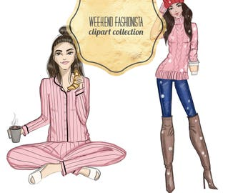 Weekend Fashionista Clipart Collection
