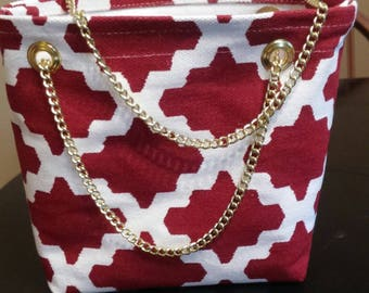 Moroccan Red and White Purse