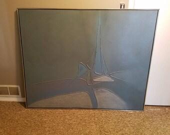 Massive Century Modern Abstract Oil On Canvas Blues Grays 1960s 70s