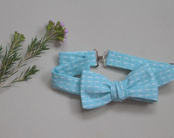 Bow tie-adjustable adult turquoise blue and white print |