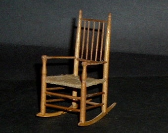 Miniature GUSTAFSON  SPINDLE ROCKING Caned Chair