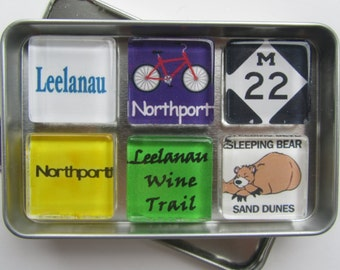 NORTHPORT, Leelanau, Up North, Suttons Bay, Leland, Traverse City, Glen Arbor, Up North Michigan Magnets Set, Northwest Michigan Souvenir