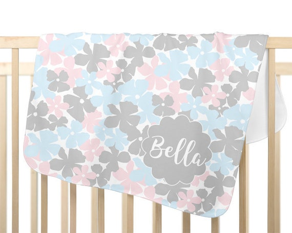 Pink, Blue and Gray Personalized Children's Blanket
