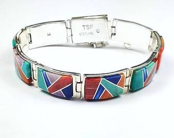 Native American Navajo handmade Sterling Silver channel inlay multi-stone link bracelet