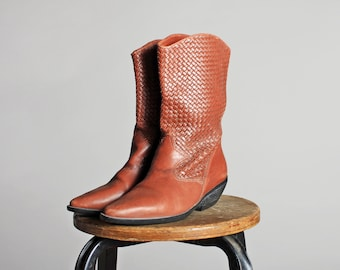 Vintage Brown Woven Western Flat Ankle Boots- Women's Leather Pointed Tall Cowboy Cowgirl Heel Tall - Size 7 1/2