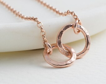 Rose Gold Entwined Ring Necklace