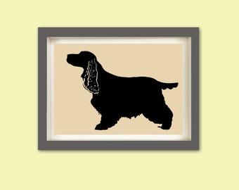 Cocker Spaniel Dog Art  Fine Art Print., Dog Silhouette, Cocker Spaniel breed, gift for dog lovers