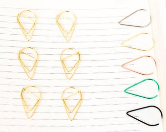 10 Gold Paper Clips   Teardrop Paperclips   Planner Journal Scrapbook Paper Clasp   Folder Accessories School Office Stationery Supply