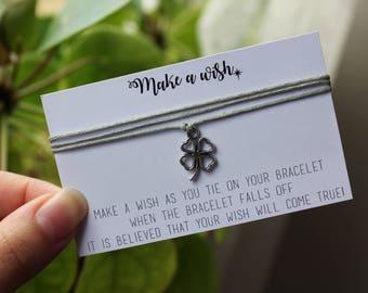 Make A Wish - Four Leaf Lucky Clover Friendship Bracelet
