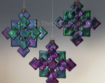 PRISM Cool Tones Black Iridized Snowflake, Fused Glass Ornament Suncatcher