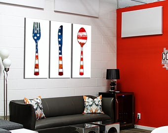 Decor on canvas triptych covered USA 3 x (20 x 55)