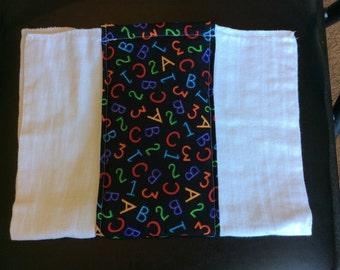 Neon ABC 123 Burp Cloth