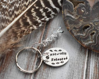Naturally Selected Keychain- Science Geek Biology Stamped Aluminum Silver Keychain- DNA gift- For Geeks Lab Tech Custom Name