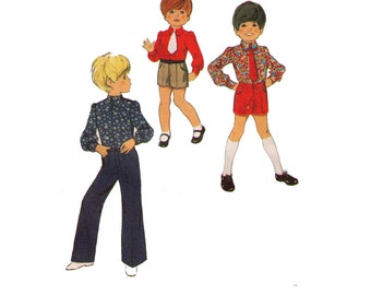 Style 2926, 70s sewing pattern, size 2 girl's button down shirt, long sleeve blouse pattern, shorts pattern, pants pattern