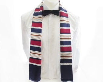 Mens Silk Opera Scarf with Wool Reverse // 1980s Gentleman's Dress Evening Scarf // Classic Mens Stripe Scarf Red White Navy