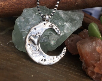 Love you to the moon and back Hand cast Solid sterling silver necklace