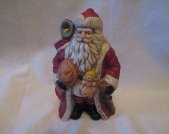 Vintage ENESCO Porcelain SANTA with Bag of Toys  Doll CHRISTMAS Holiday Home Decor Mint!