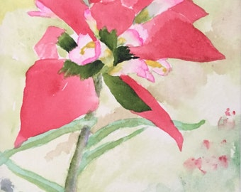 Wildflower Painting: Indian Paintbrush a 5x7 original watercolor by Nan Henke matted to 8x10 (1305-01)