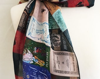Literary scarf, book covers scarf, Literary gifts, literary clothing, Beach Sarong, Rooby lane