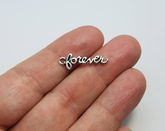 Silver Forever Charms, 6 Forever Charms, Forever Word Charms, Cursive Forever Word Charms