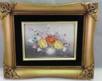 vintage oil on board painting of flowers,Life style ,signed,gilt framed