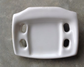 Vintage Porcelain Wall Mount Toothbrush Holder and Soap Dish