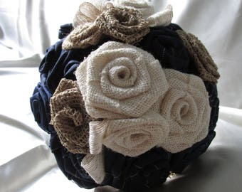 Wedding Bouquet - Navy and Creme Rustic Fabric Flower Bouquet - Wedding Bouquet  - Burlap Wedding - Nautical Wedding - Navy Blue Wedding