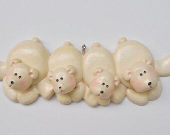 Personalized Polar Bear Family of 4 Christmas Ornament/ Polar Bear/ Bear/ Family