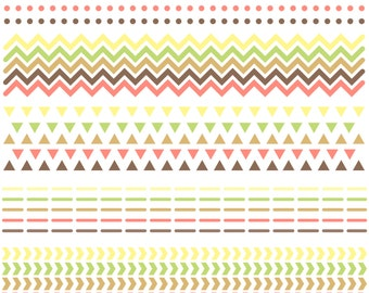 CLIP ART: Digital Scrapbook Borders // Chevron Triangles Arrows // Arrow Pattern Native American // Brown Orange Pink Yellow Green