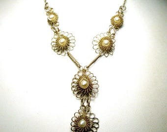 Wire Wrapped Silver Gold Pendant Necklace, 1980s Pearl Centered Links on Chain, Petite, Lightweight Feminine, Medieval