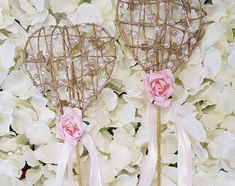 Gold pink and pearl flower girl wand