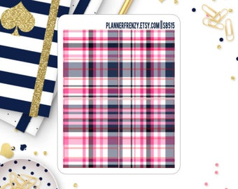 Hot Pink and Navy Plaid Section Header Planner Stickers! SB515