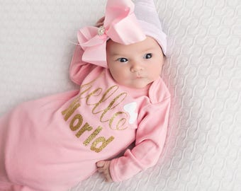 Newborn girl baby gown, newborn girl take home outfit, baby girl gown, pink newborn gown, take home outfit, newborn girl outfit, baby girl