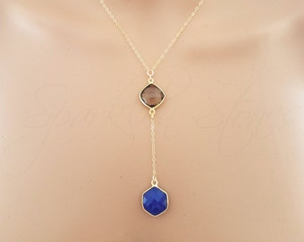 Smoky Quartz & Blue Chalcedony Necklace, Y Necklace, Two Stone Necklace, Brown and Blue Stone Necklace, Drop Necklace