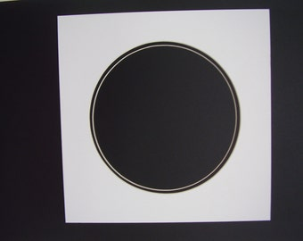 "Picture Frame Mat Red with Black Double 14x14 mat with 12""  Photo Round Circle Cutout"