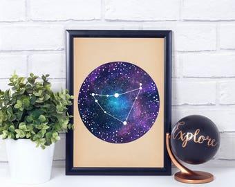 Capricorn Constellation, Wall Art Prints, Art Print Poster, Capricorn Art, Capricorn Zodiac, Zodiac Print, Zodiac Art