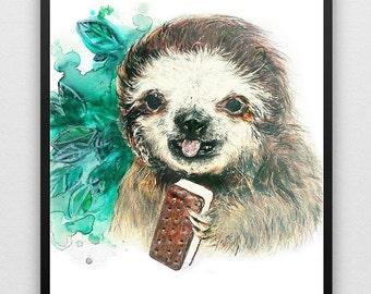 Summer Sloth - Art Print