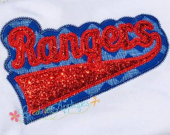 Rangers Digital Machine Embroidery Applique Design 6 sizes, rangers applique, rangers football, rangers mascot, rangers word, rangers name