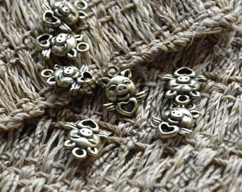 24 pcs Antique bronze Pig pendant findings,jewelry finding beads ,Pig pendant findings,Pig pendant findings