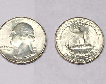 CH/GEM BU 1948-S Washington Silver Quarter From Original Roll-Beauty #!2