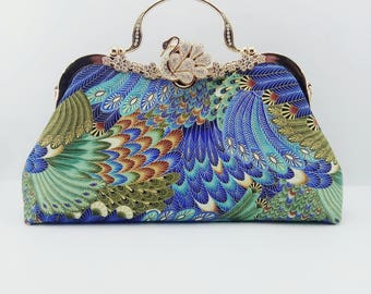 Kiss Lock Bag,handbag,Clutch,Top Handle Bags,Kiss lock clutch, fashion handbags,cotton handbag,blue/green feather bag,swan,